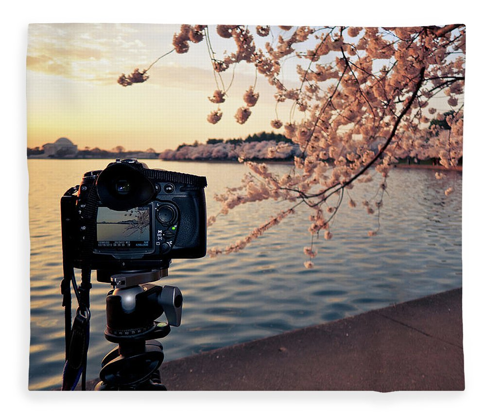 Tidal Basin Fleece Blanket featuring the photograph Shooting Cherry Blossoms In Washington by Camrocker