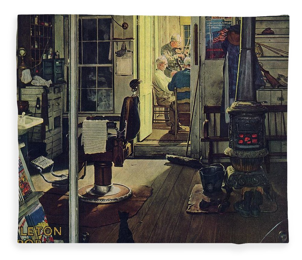 Barbers Fleece Blanket featuring the drawing Shuffleton's Barbershop by Norman Rockwell