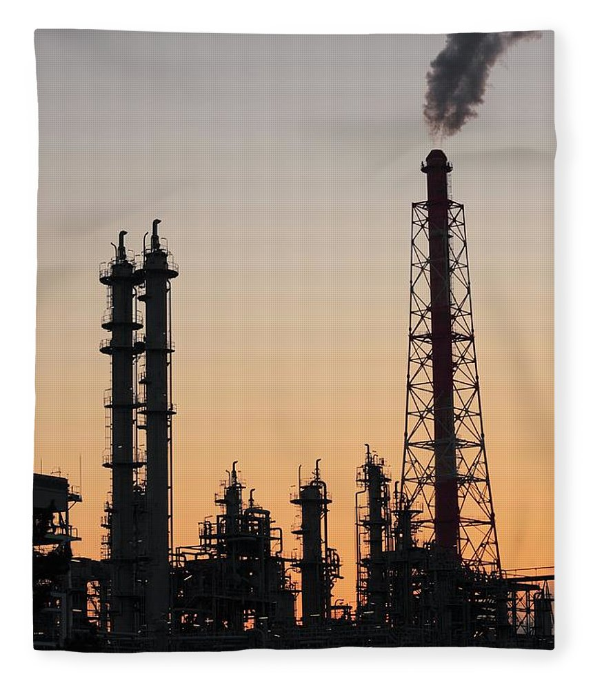 Built Structure Fleece Blanket featuring the photograph Silhouette Of Petrochemical Plant by Hiro/amanaimagesrf