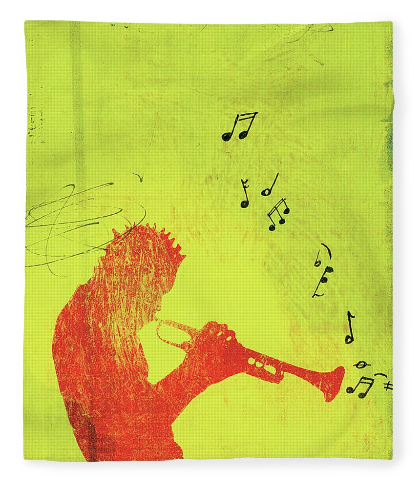 One Man Only Fleece Blanket featuring the digital art Silhouette Of Trumpet Player by Darren Hopes