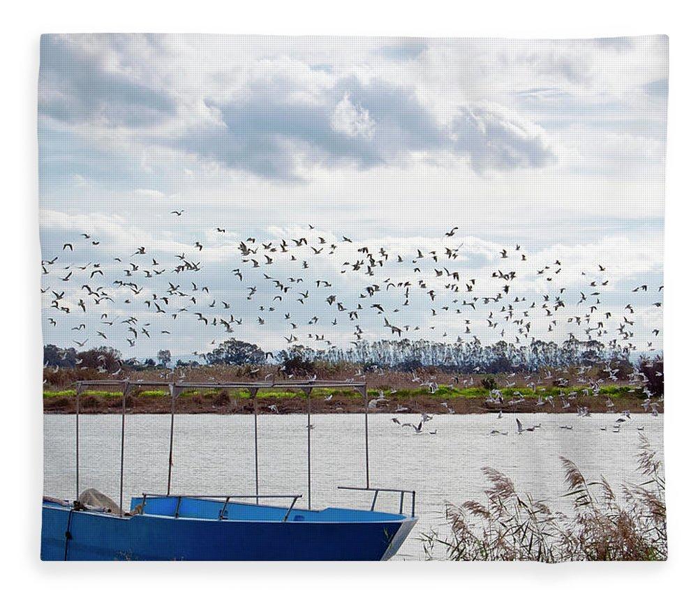 Scenics Fleece Blanket featuring the photograph Simeto River, Catania Sicily by Francesco Cantone
