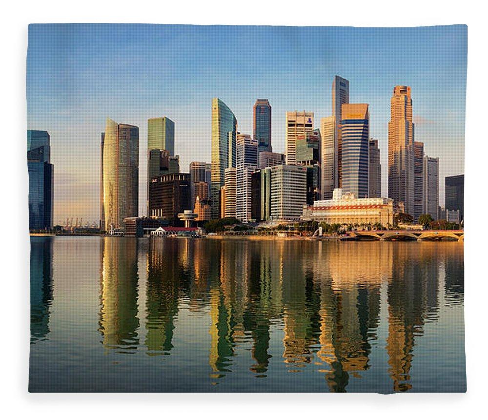 Financial District Fleece Blanket featuring the photograph Singapore Financial Skyline, Singapore by Travelpix Ltd