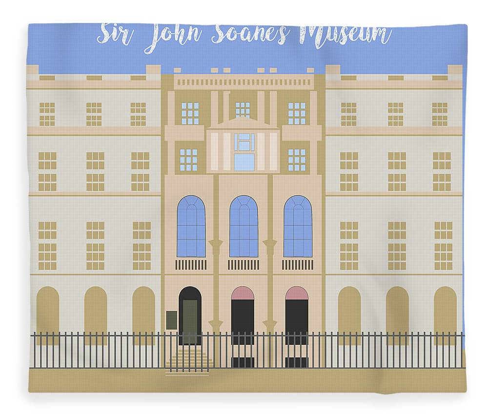 Blue Fleece Blanket featuring the digital art Sir John Soane's Museum by Claire Huntley