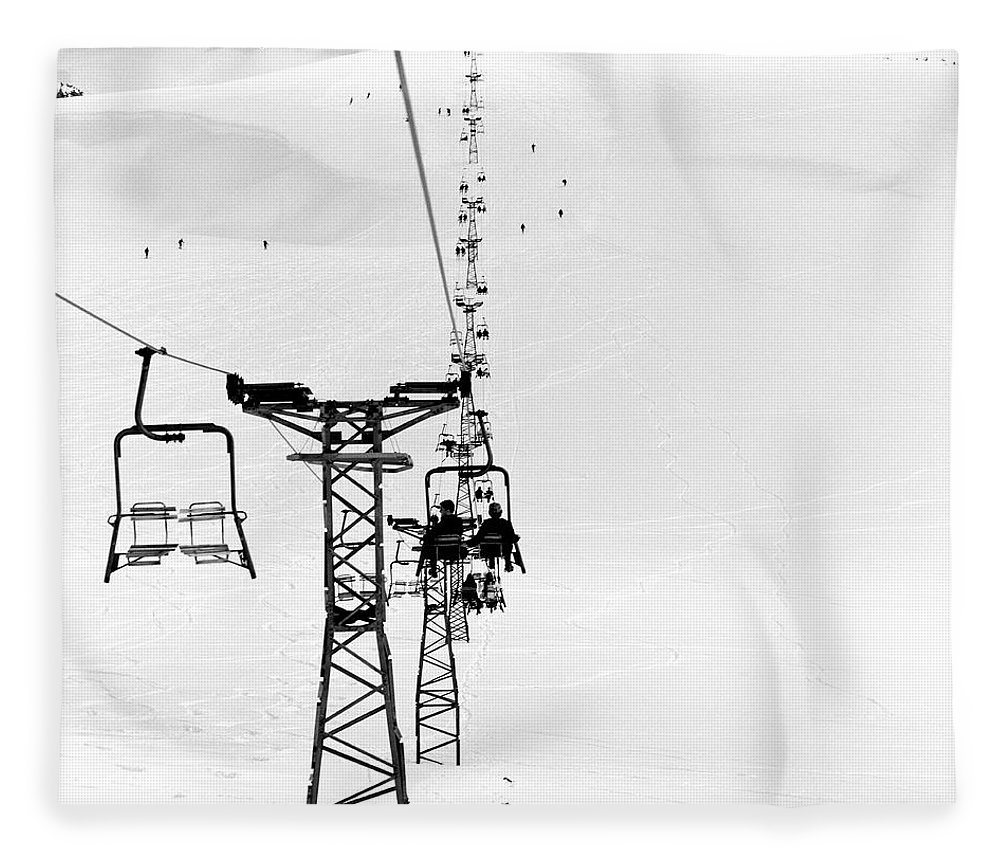 Skiing Fleece Blanket featuring the photograph Skiers On Ski Lifts, Farellones by Hans Neleman