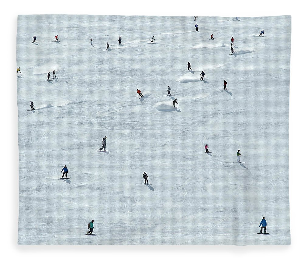 Skiing Fleece Blanket featuring the photograph Skiing In Mayrhofen Austria by Mike Harrington
