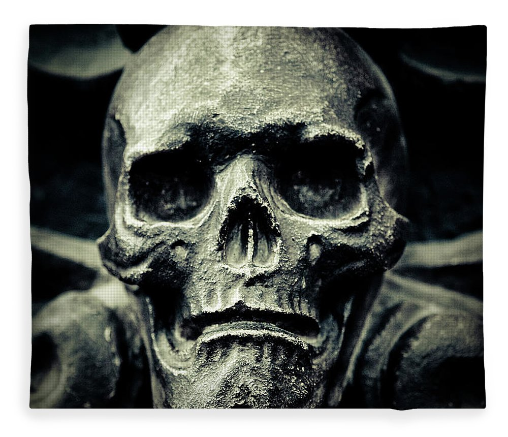 Gothic Style Fleece Blanket featuring the photograph Skull by Thepalmer