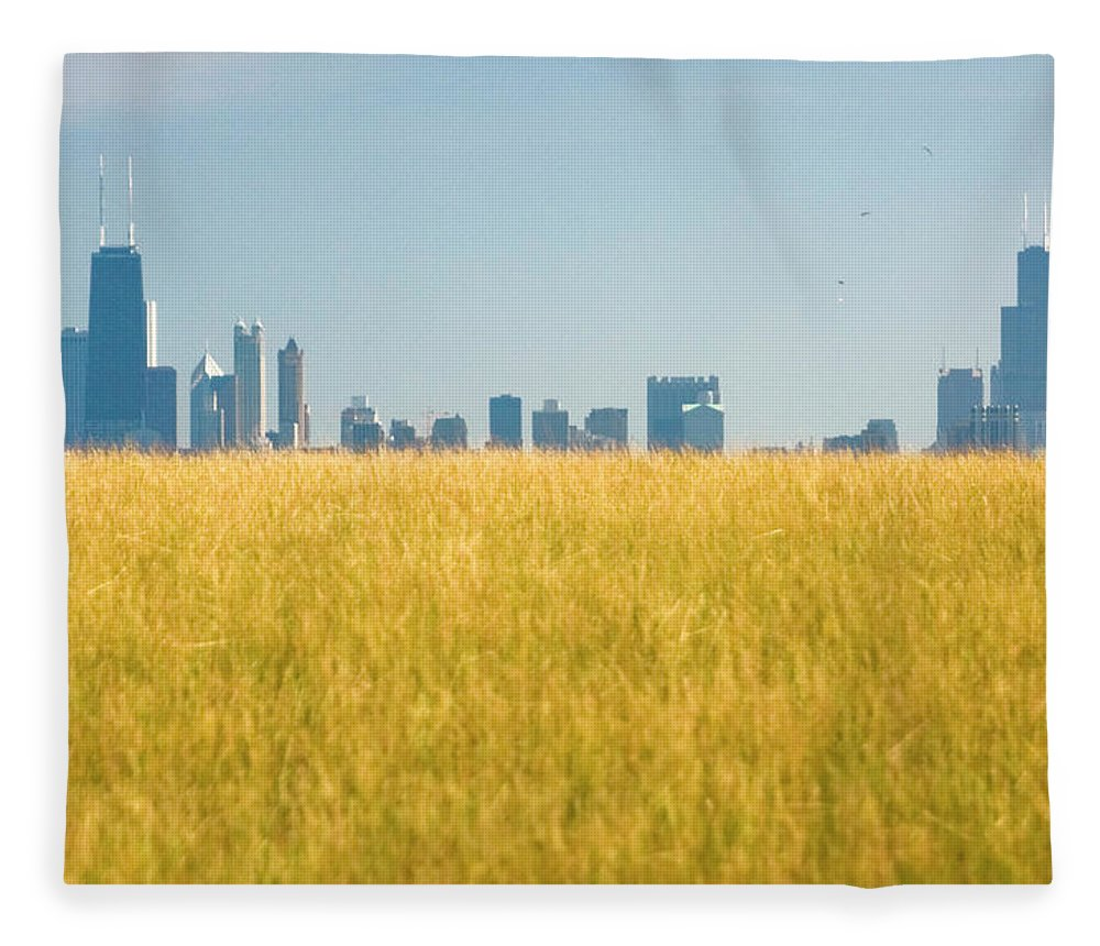 Grass Fleece Blanket featuring the photograph Skyscrapers Arising From Grass by By Ken Ilio