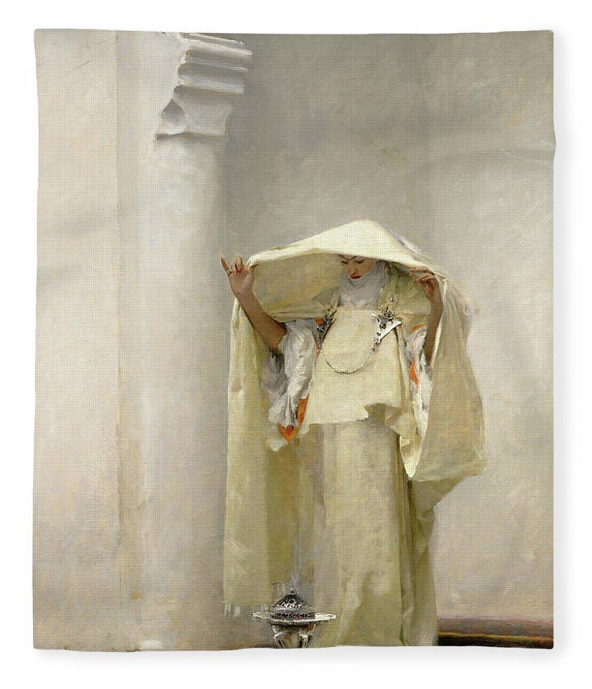John Singer Sargent Fleece Blanket featuring the painting Smoke of Ambergris by John Singer Sargent