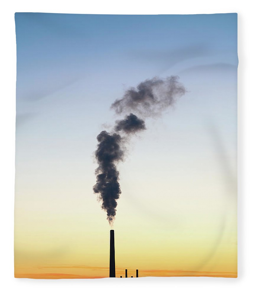 Scenics Fleece Blanket featuring the photograph Smoke Pouring From A Power Plant Smoke by Design Pics / Chris Knorr