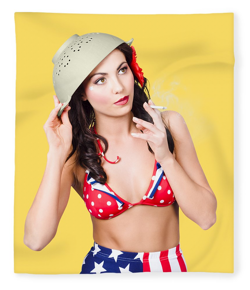 Military Fleece Blanket featuring the photograph Smoking Hot American Military Pin-up Girl by Jorgo Photography - Wall Art Gallery