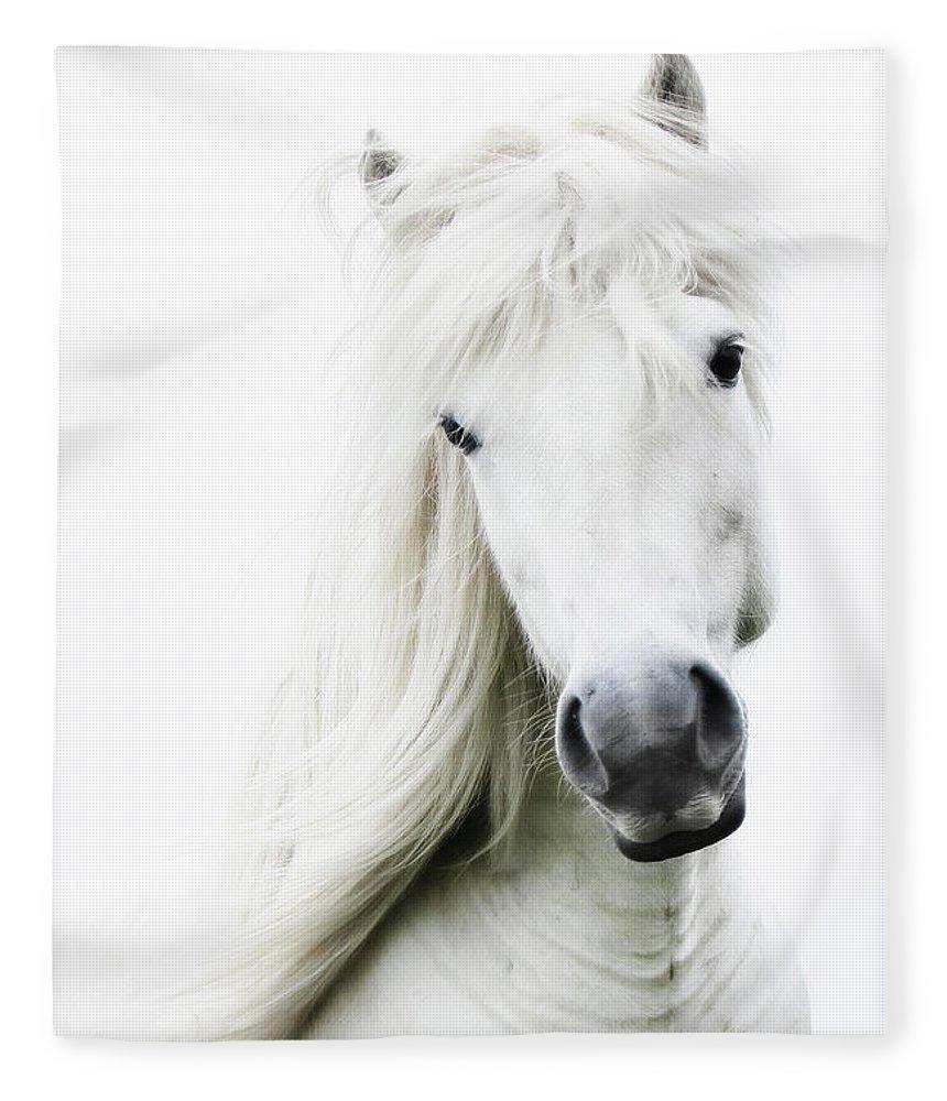 Horse Fleece Blanket featuring the photograph Snowhite by Gigja Einarsdottir