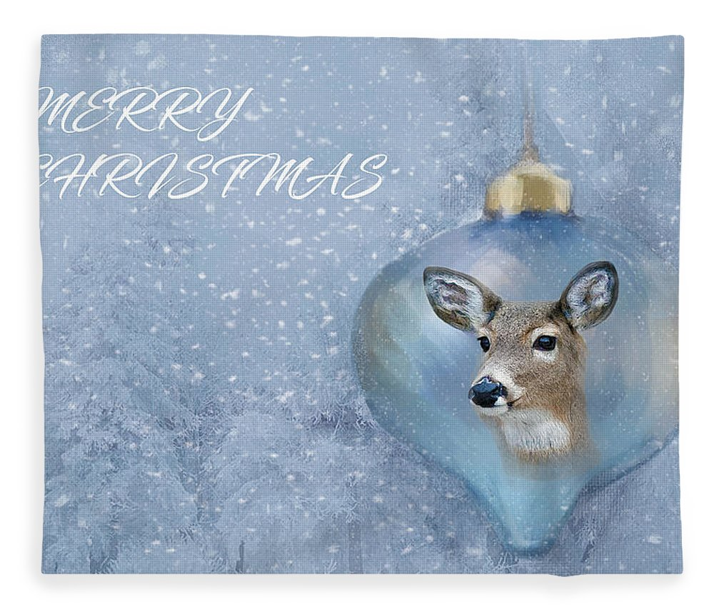 Snowy Deer Ornament Christmas Image Fleece Blanket featuring the photograph Snowy Deer Ornament Christmas Image by Sandi OReilly