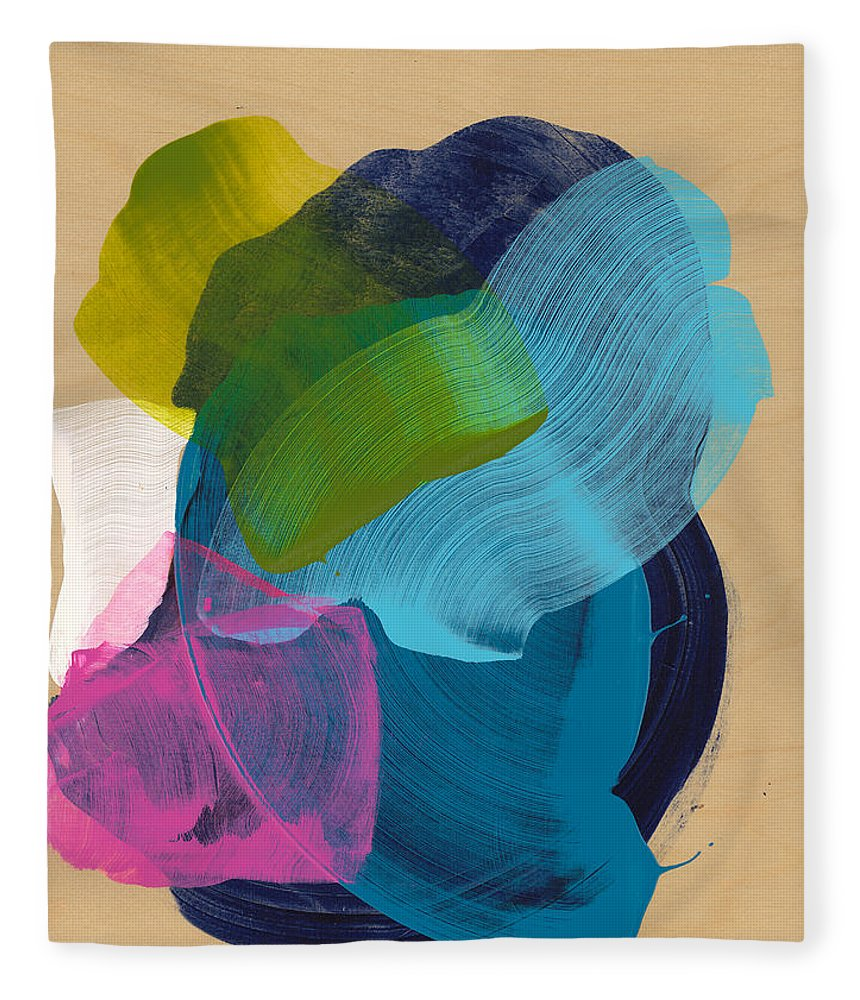 Abstract Fleece Blanket featuring the painting Socal 02 by Claire Desjardins