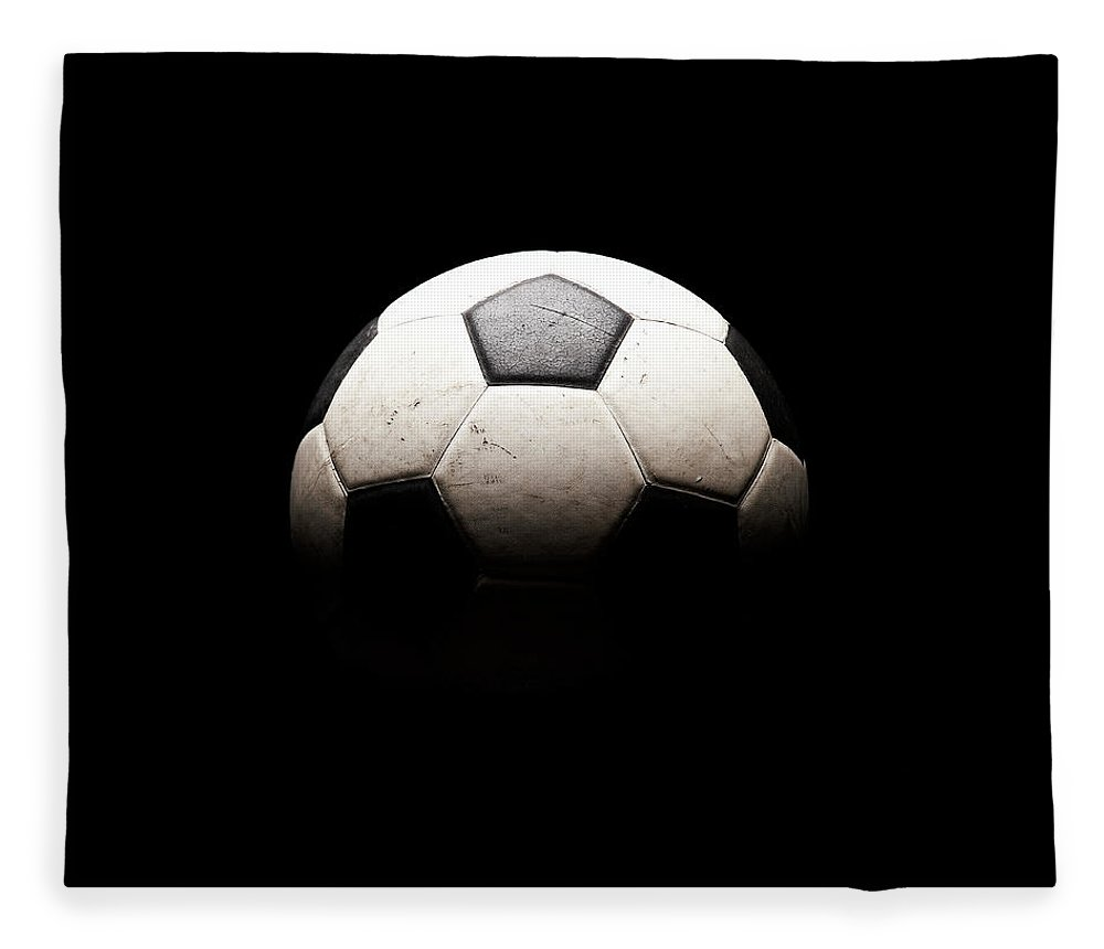 Shadow Fleece Blanket featuring the photograph Soccer Ball In Shadows by Thomas Northcut
