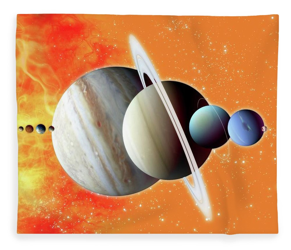 Concepts & Topics Fleece Blanket featuring the digital art Solar System, Artwork by Victor Habbick Visions