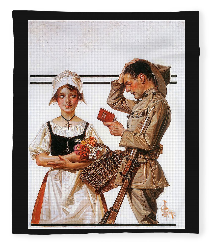 Joseph Christian Leyendecker Fleece Blanket featuring the painting Soldier And French Girl - Digital Remastered Edition by Joseph Christian Leyendecker