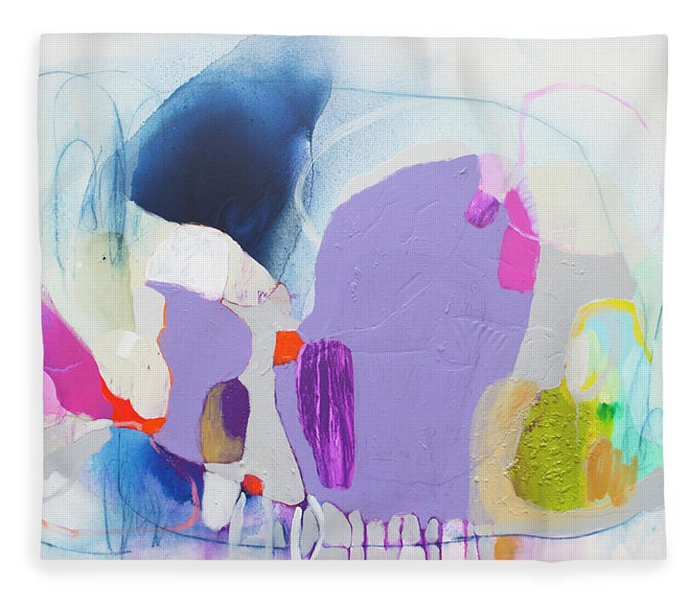 Abstract Fleece Blanket featuring the painting Sometime In June by Claire Desjardins