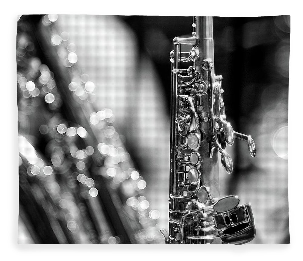 Music Fleece Blanket featuring the photograph Soprano Saxophone by © Rune S. Johnsson