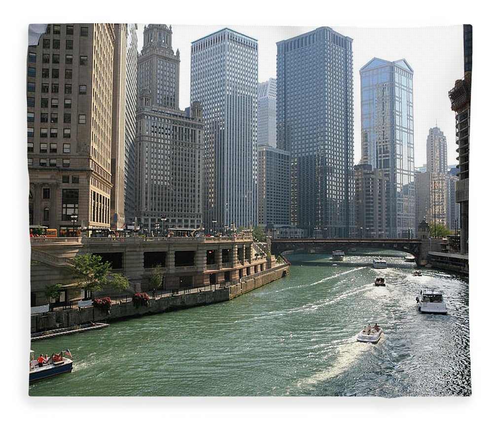Downtown District Fleece Blanket featuring the photograph Spectacular Chicago Downtown by Ekash