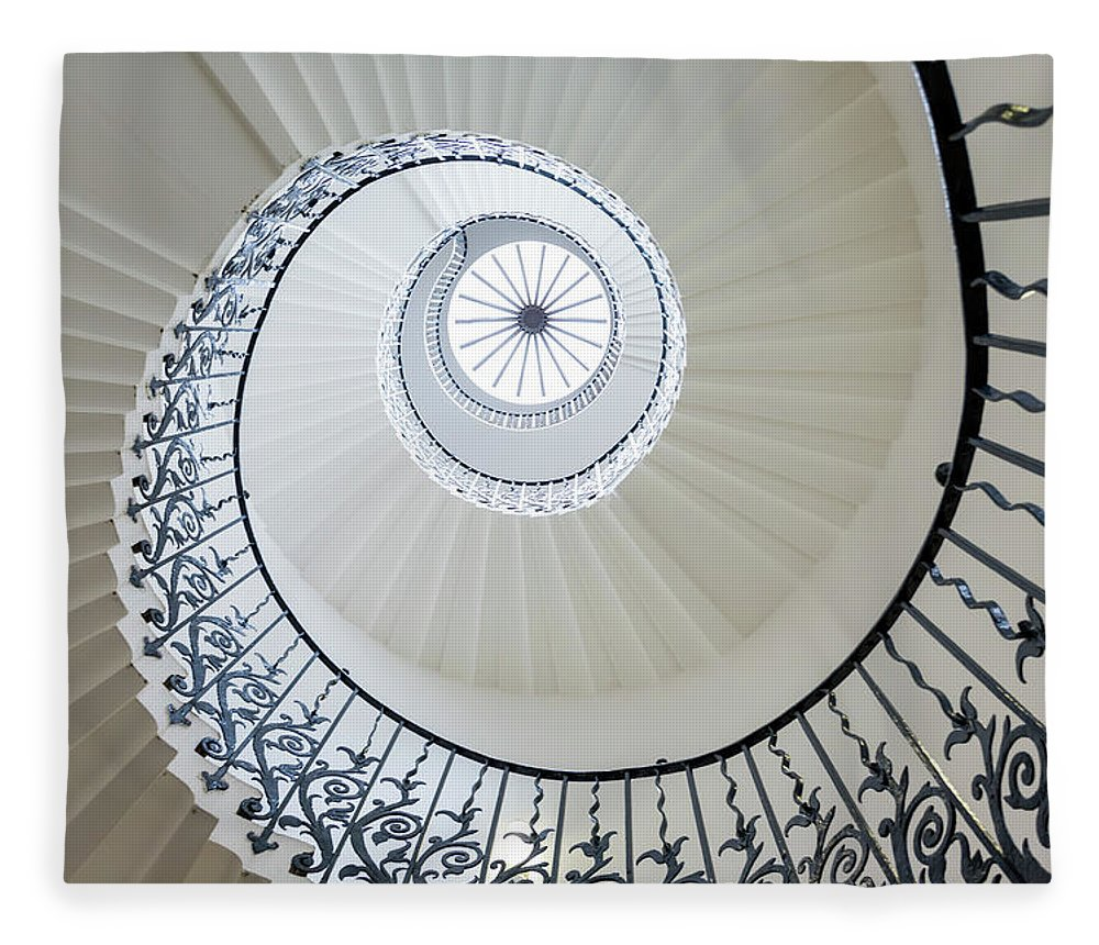Queen's House Fleece Blanket featuring the photograph Spiral Staircase, The Queens House by Peter Adams