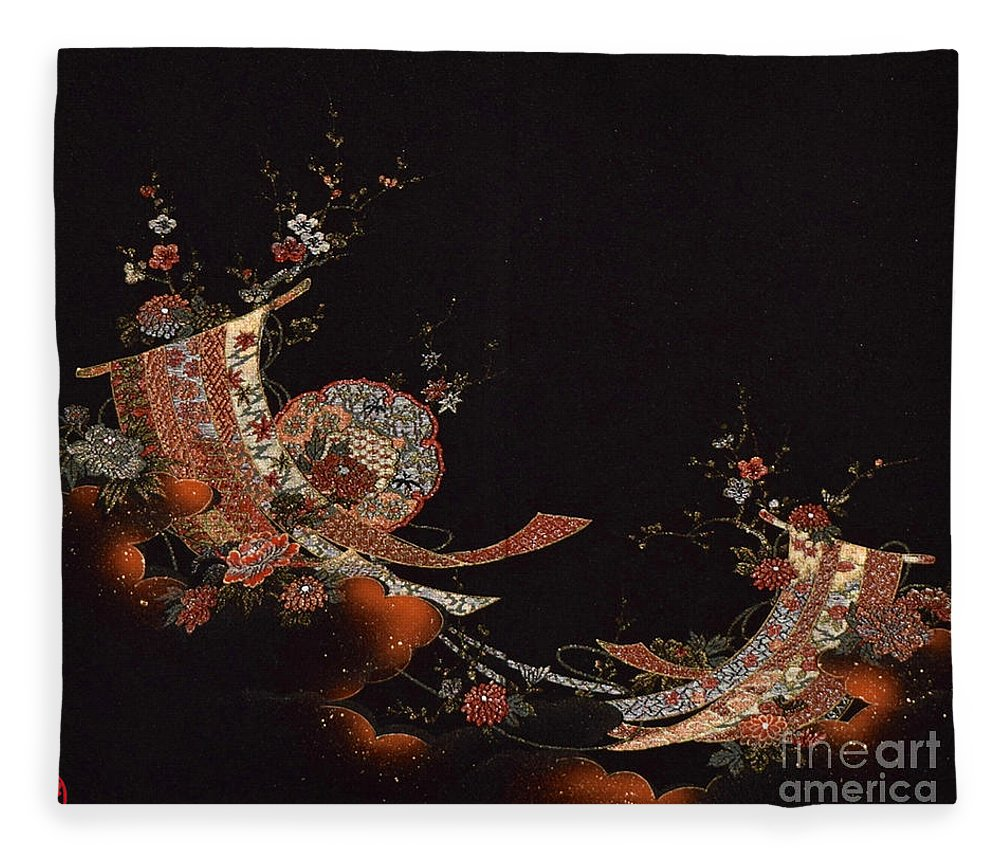 Fleece Blanket featuring the digital art Spirit of Japan H28 by Miho Kanamori