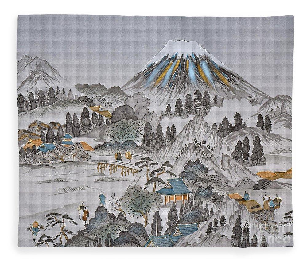 Fleece Blanket featuring the digital art Spirit of Japan M1 by Miho Kanamori