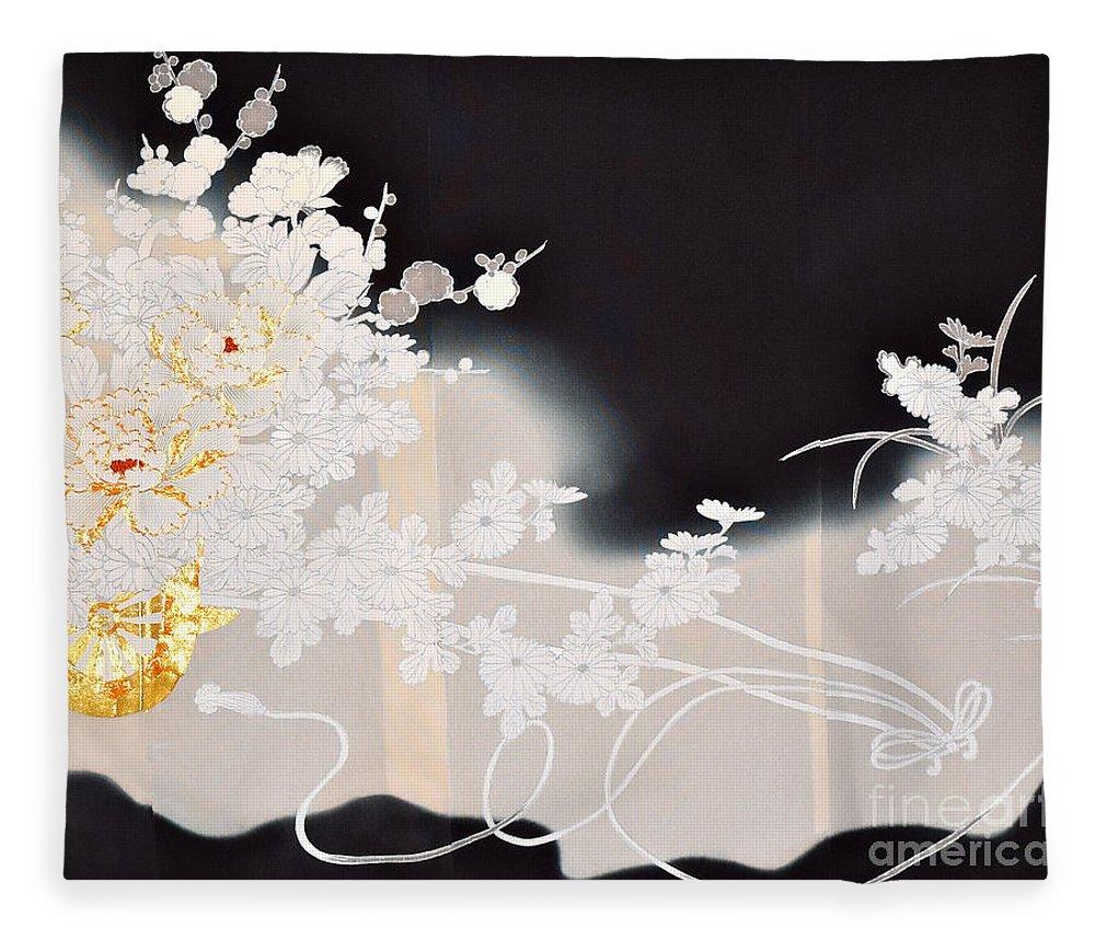 Fleece Blanket featuring the digital art Spirit of Japan T10 by Miho Kanamori