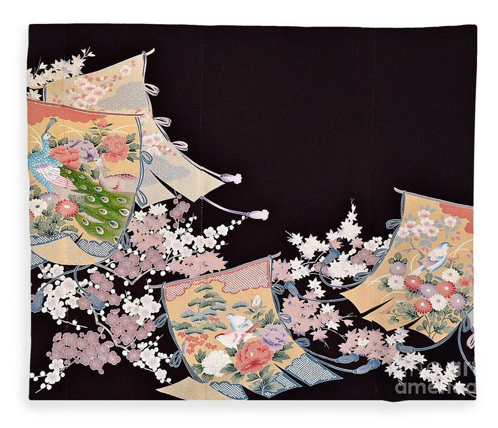 Fleece Blanket featuring the digital art Spirit of Japan T25 by Miho Kanamori