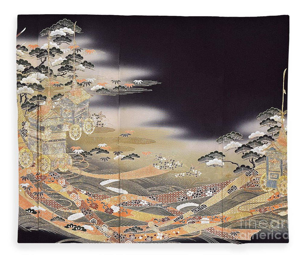Fleece Blanket featuring the digital art Spirit of Japan T29 by Miho Kanamori