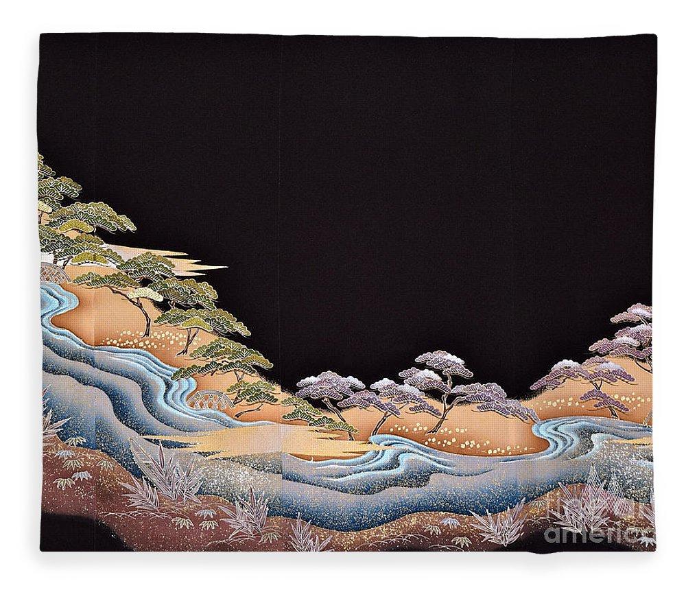 Fleece Blanket featuring the digital art Spirit of Japan T38 by Miho Kanamori