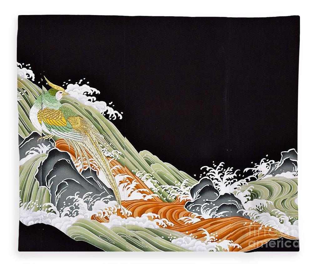 Fleece Blanket featuring the digital art Spirit of Japan T41 by Miho Kanamori