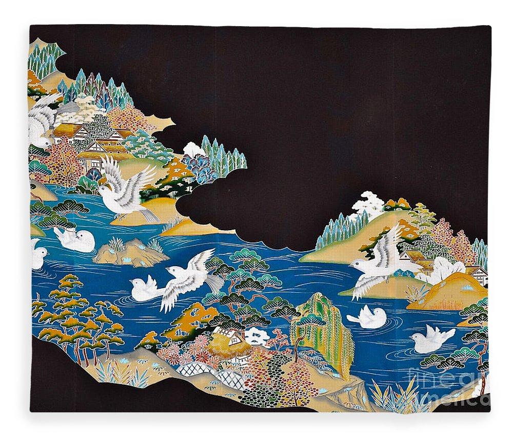 Fleece Blanket featuring the digital art Spirit of Japan T44 by Miho Kanamori