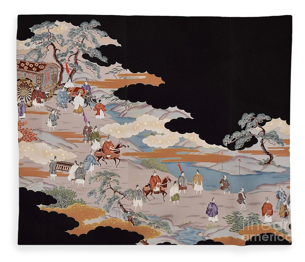 Fleece Blanket featuring the digital art Spirit of Japan T85 by Miho Kanamori