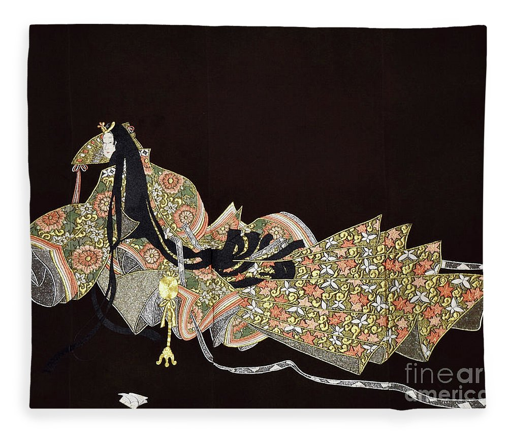 Fleece Blanket featuring the tapestry - textile Spirit of Japan T91 by Miho Kanamori