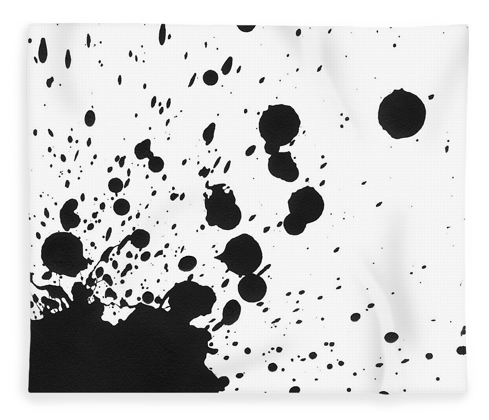 Art Fleece Blanket featuring the photograph Splattered Black Paint On White Canvas by Kevinruss