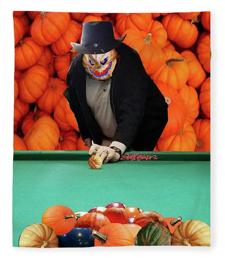 Spooky Pumpkin Pool Fleece Blanket featuring the digital art Spooky Pumpkin Pool by Seth Weaver