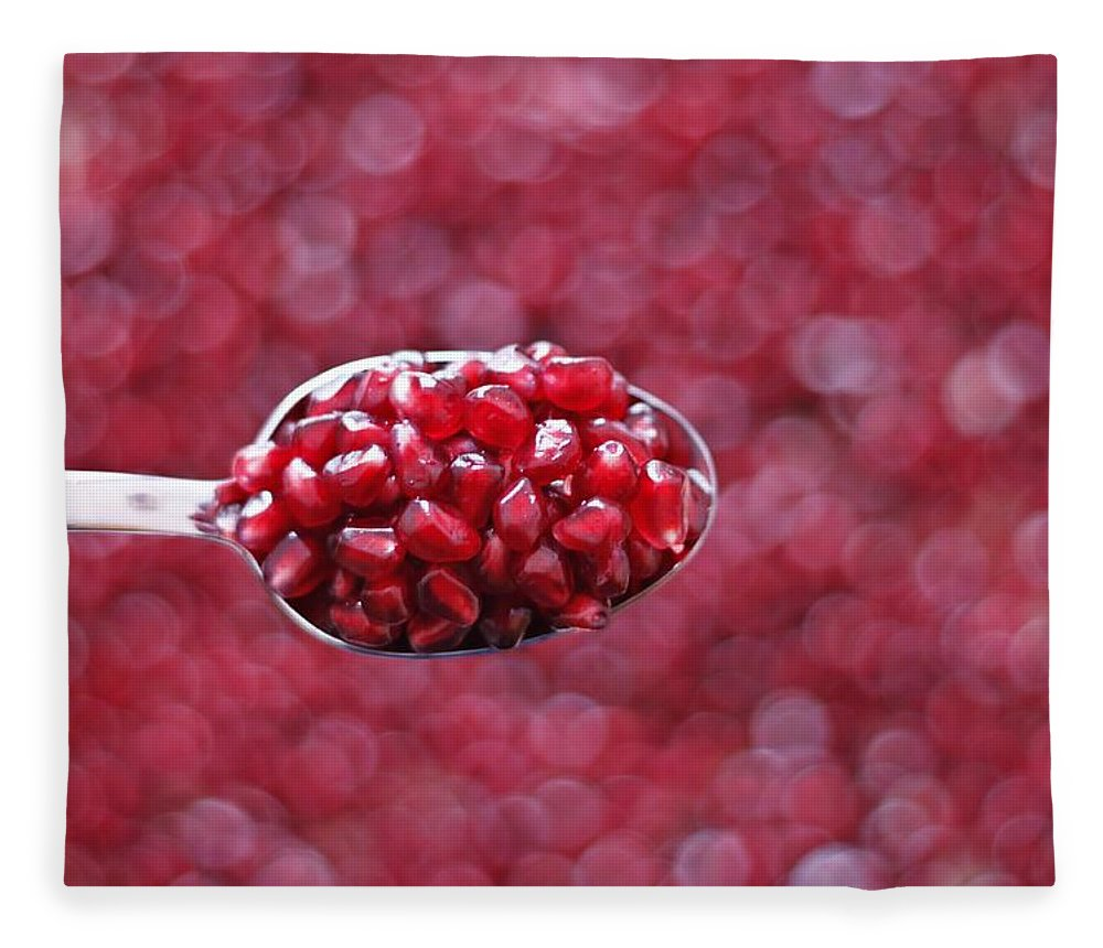 Heap Fleece Blanket featuring the photograph Spoon Of Pomegranate by Gulale