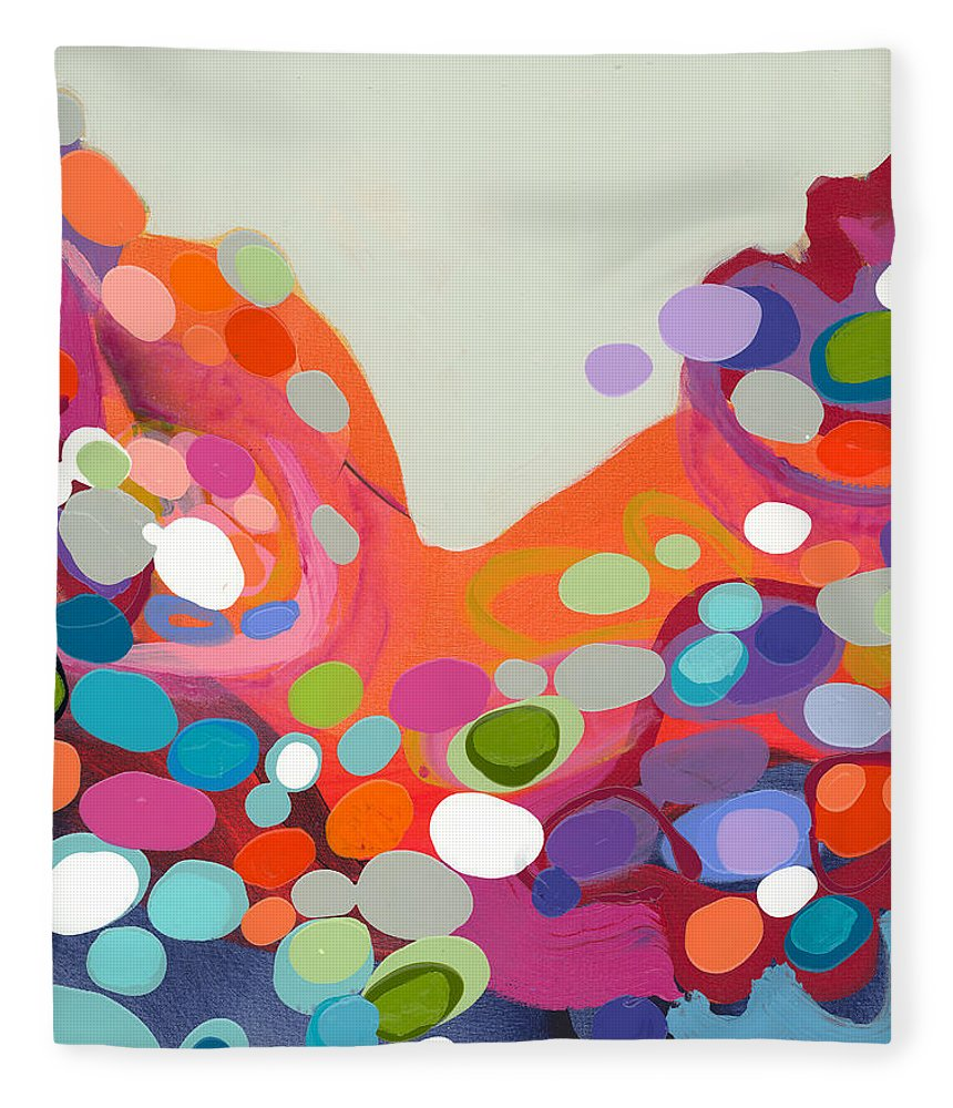 Abstract Fleece Blanket featuring the painting Spoonful Of Joy by Claire Desjardins