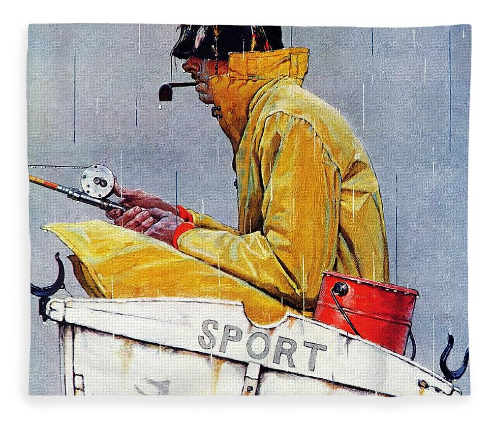 Fishing Fleece Blanket featuring the drawing Sport by Norman Rockwell