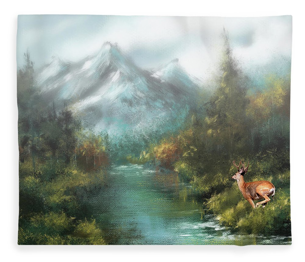Mule Deer Fleece Blanket featuring the photograph Spring Buck On The Run by Donna Kennedy