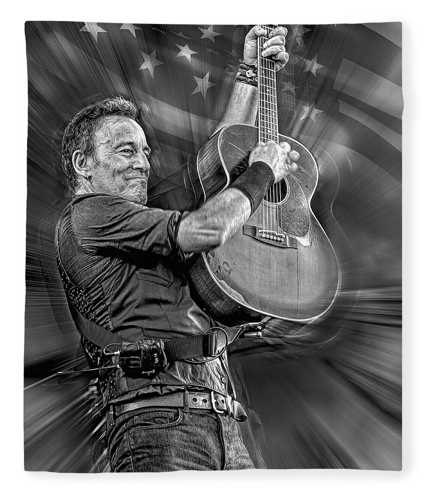 Bruce Springsteen Fleece Blanket featuring the mixed media Springsteen Live by Mal Bray