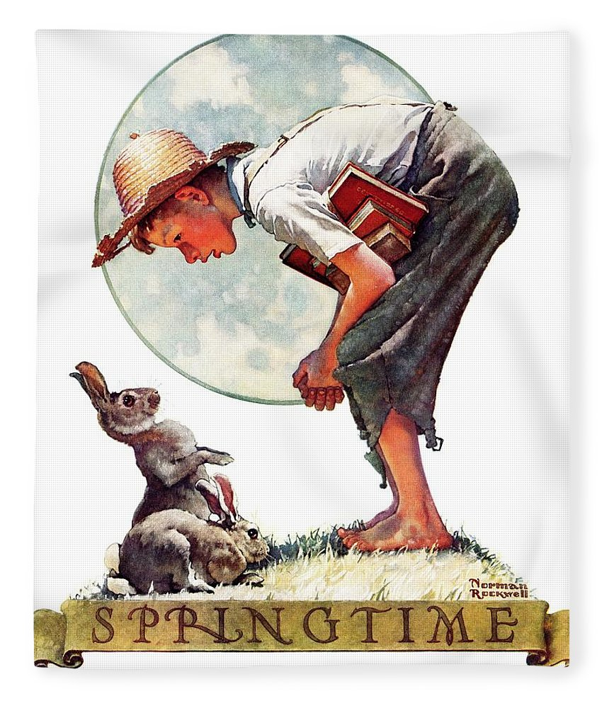 Books Fleece Blanket featuring the drawing springtime, 1935 Boy With Bunny by Norman Rockwell