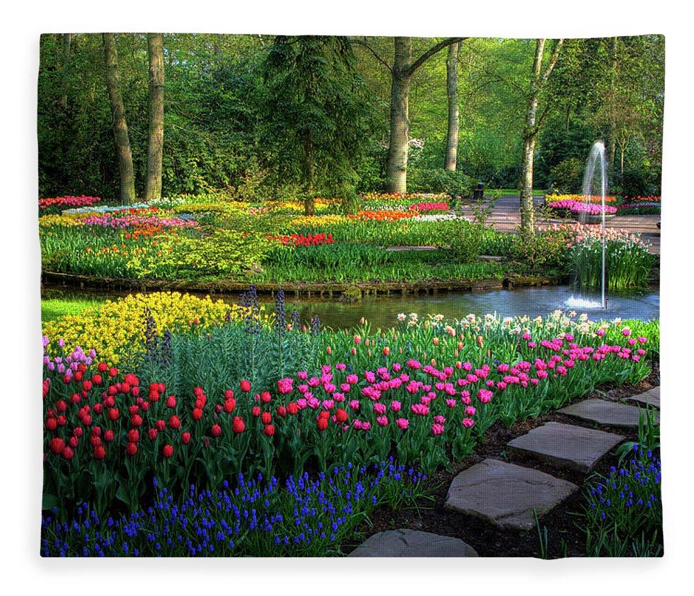 Netherlands Fleece Blanket featuring the photograph Springtime Keukenhof Gardens With by Darrell Gulin