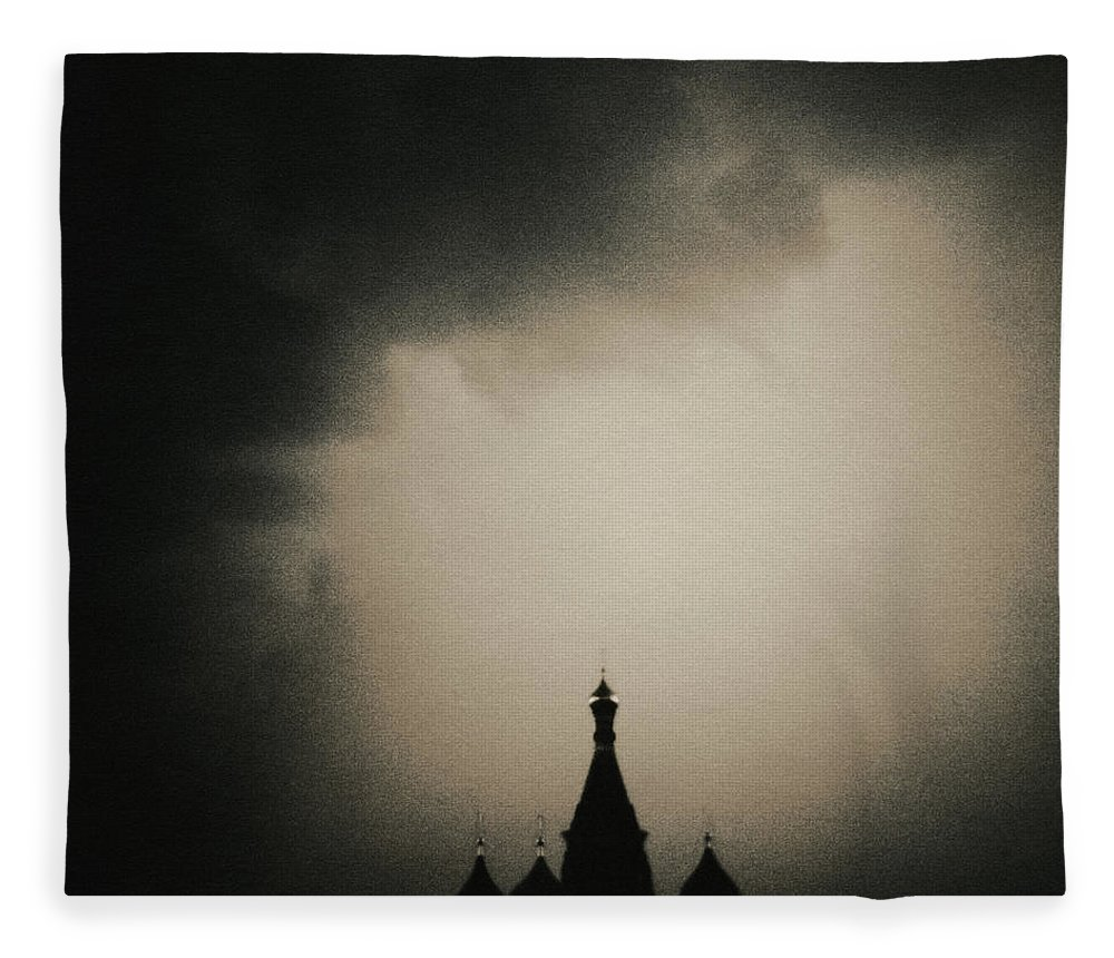 Red Square Fleece Blanket featuring the photograph St. Basils Cathedral by Mel Curtis