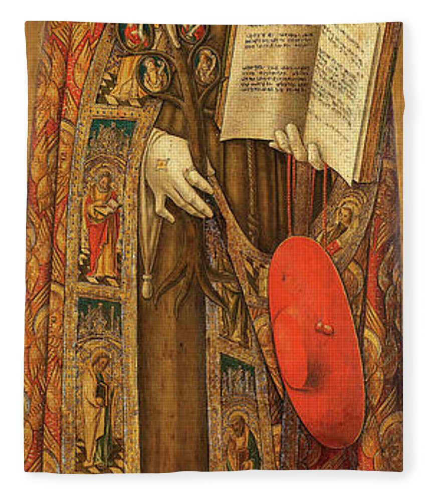 Vittore Crivelli Fleece Blanket featuring the painting St Bonaventura, 1502 by Vittore Crivelli