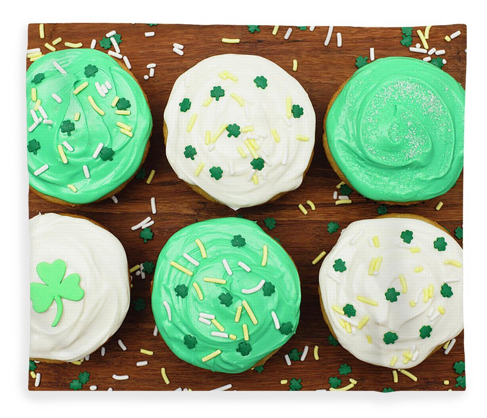 Holiday Fleece Blanket featuring the photograph St. Patricks Cupcakes by Dustypixel
