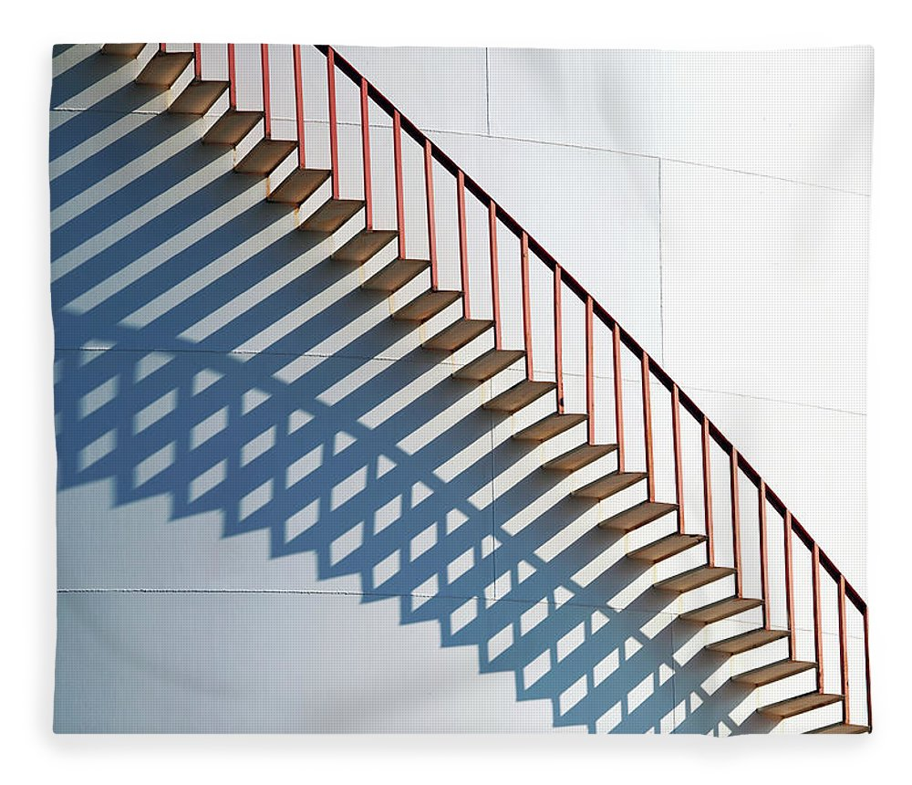 Steps Fleece Blanket featuring the photograph Staircase On Fuel Storage Tank by Haykirdi