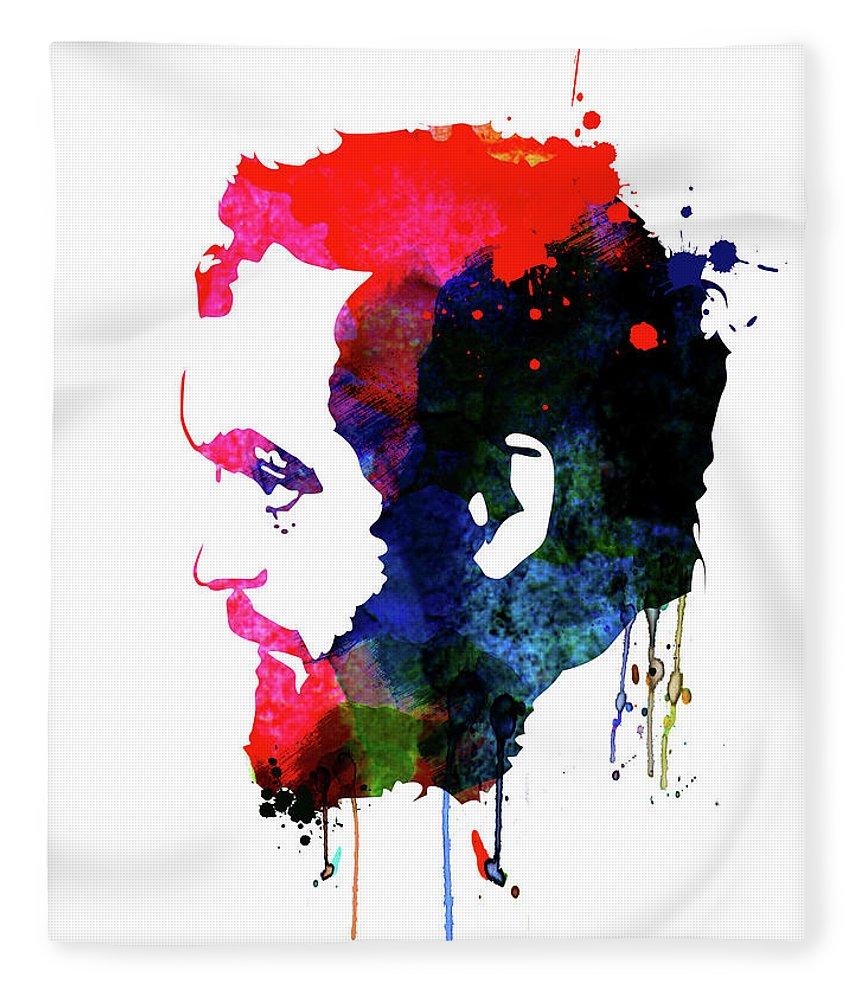 Movies Fleece Blanket featuring the mixed media Stanley Watercolor by Naxart Studio