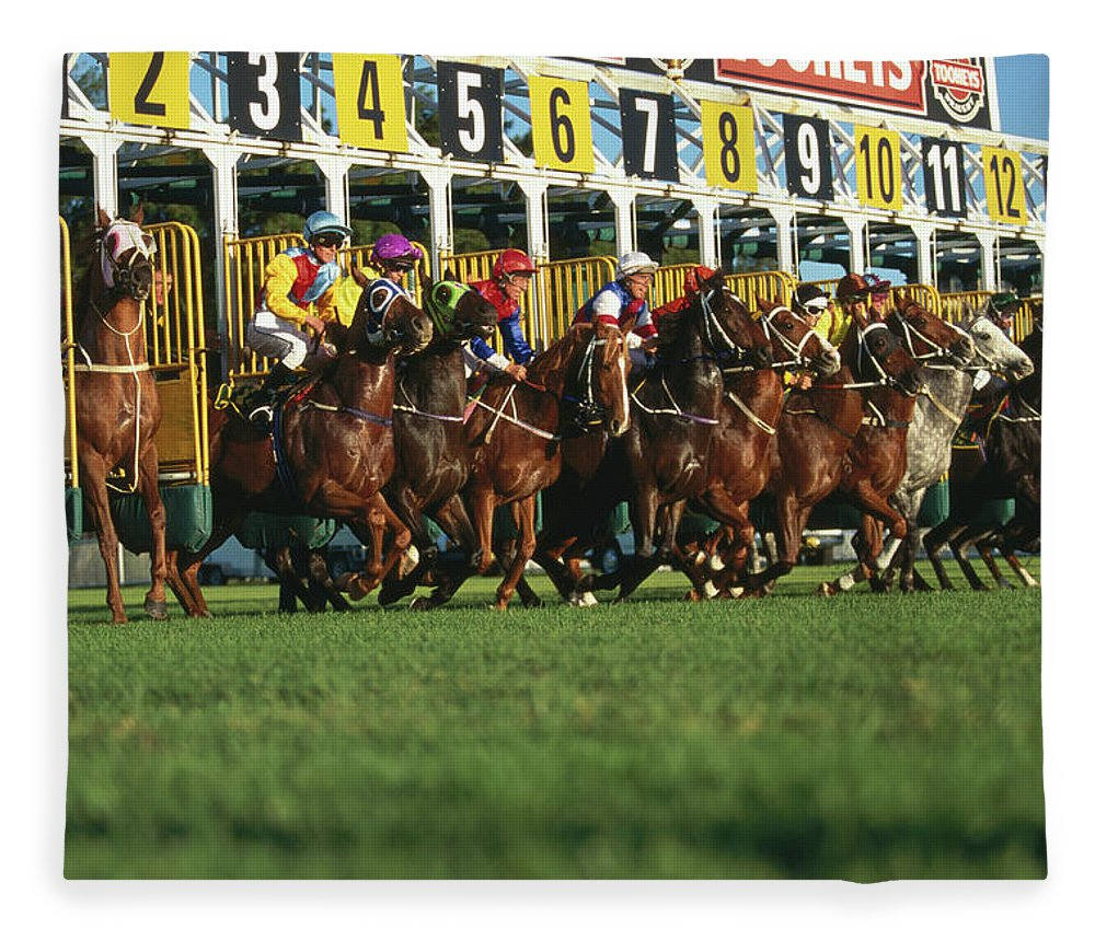 Horse Fleece Blanket featuring the photograph Start Of Horse Race, Sydney, New South by Oliver Strewe