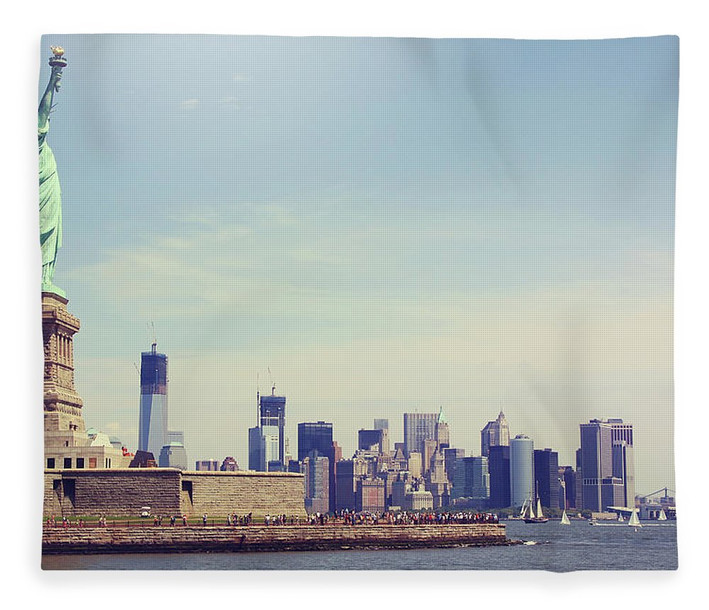 Tranquility Fleece Blanket featuring the photograph Statue Of Liberty by Sere C. Photography